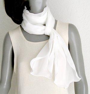 "Diamond White Long Scarf or Bridal Sash Belt, Pure Mulberry Silk Chiffon, 9""x92"""
