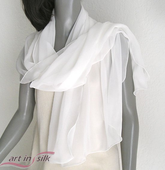 "Off White Silk Chiffon 10mm Shawl, light ivory bridal Wrap, Evening Stole, 21"" x 68""."