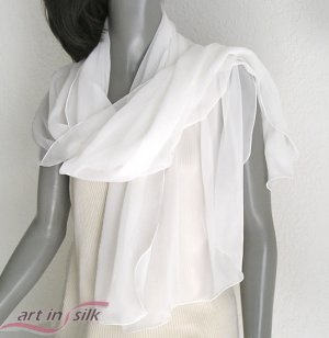 "Off White Silk Chiffon 10mm Shawl, light ivory bridal Wrap, Evening Stole, 21"" x 68""."