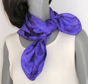 Indigo Purple Small Neck Scarf Hand Painted Silk One of a Kind  Small Neck Scarves Women
