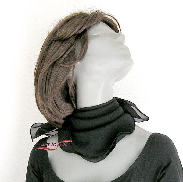 """Black Silk Small Neck Scarf Square,  Silk Chiffon Scarflette, 21"""" x 21"""""""