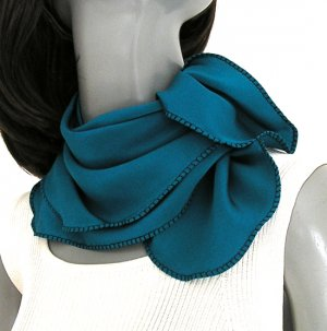 "Cerulean Teal Blue Scarf Crepe Pure Silk, Square 21"" x 21"""