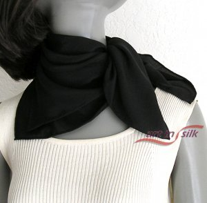 "Black Neck Scarf Silk, Small Hand Hemmed, Natural Pure Crepe Silk, 21"" x 21""."