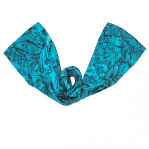 Unique Turquoise  Scarf, Hand Dyed Hand Painted Silk, OOAK, JOSSIANI