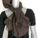 Dark Brown Scarf, Pure Silk Chiffon, Natural Mulberry Silk.