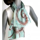 Hand Painted Silk Crepe Scarf, Sage Foam Moss Green, JOSSIANI