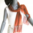 Burnt Orange Scarf, Rust Brick Silk Chiffon, 100% Silk Chiffon Rayon Fringes.