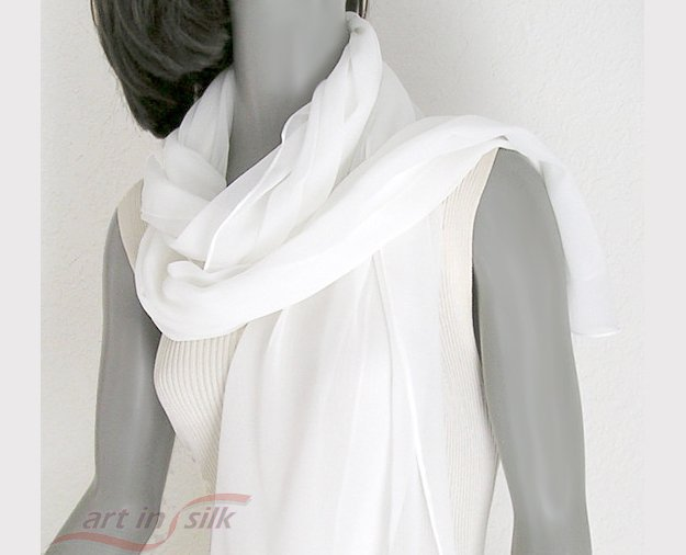 "White Wrap Shawl Stole 100% Silk Chiffon Hand Hemmed, 20"" x 84"", ready to ship."