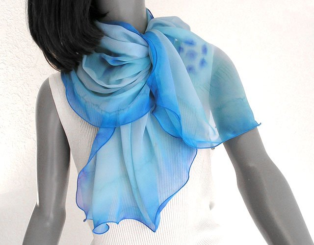 Hand Painted Silk Chiffon Scarf Light  Blue with Cobalt Sapphire Accents, One of a Kind by Jossiani.
