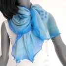 Light  Blue Scarf, Sodalite Accents, Hand Painted Chiffon Silk, Jossiani.