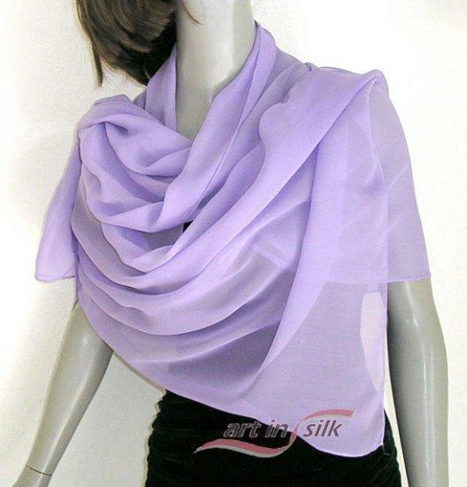 Lavender Lilac Mauve Silk Chiffon Shawl, Bridal Wrap, Hand Hemmed.