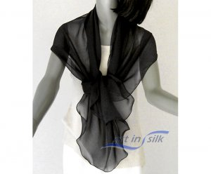 "Evening Black Wrap, Formal Shawl, Sheer Black Scarf,, 100% Silk, Petite Small Medium, 21"" x 64""."