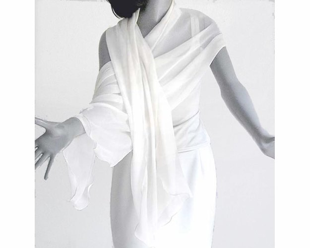 "Natural White Shawl Wrap, Off White Light Ivory Silk Chiffon,  21"" x 84""."