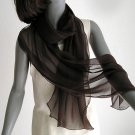 "Deep Chocolate Brown Long Silk Chiffon Scarf, 17"" x 78""."