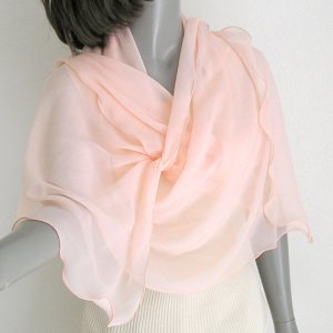 Light Pink Peach Rose Shawl Wrap, Silk Chiffon Stole, Unique Hand Dyed..