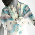 Champagne Unique Scarf, Pale yellow Hand Painted Silk Chiffon, JOSSIANI.