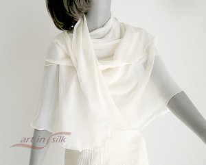 IVORY  Silk Chiffon Shawl Bridal Wrap, Cocktail Evening Stole 66in, One of a Kind.