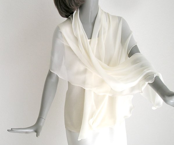 "Ivory Silk Chiffon Wide Shawl Bridal Wrap, Formal Evening Stole 70"" long, One of a Kind."