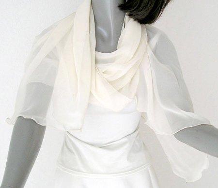 "Ivory Silk Coverup, Ivory Chiffon Shawl, Bridal Wrap, Formal Evening Stole 20""x70"", S M"