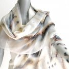 Hand Painted Shawl Wrap Earth Tone Ivory Unique by Jossiani