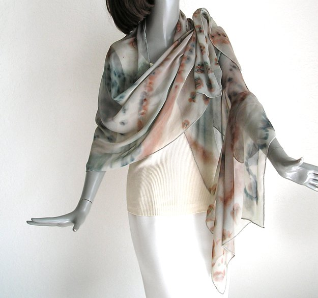Hand Painted Silk Chiffon Shawl, Muted Sage and Earth Tones, One of a kind by  JOSSIANI.