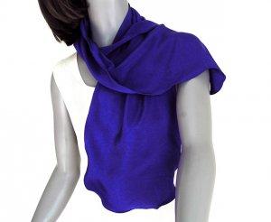 Ultramarine Blue Silk Scarf, Indigo Natural Crepe Silk.