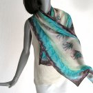 Hand Painted Silk Scarf Wrap, Beige Sand Brown Chocolate, JOSSIANI.