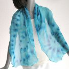 Turquoise  Unique Scarf 100% Silk Peacock Blue Hand Painted Chiffon by Jossiani.