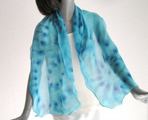 Turquoise  Unique Scarf 100% Silk Teal Blue Hand Painted Chiffon by Jossiani, Made to Order