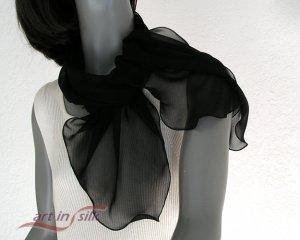 "Black Chiffon Sheer Silk Scarf Pure Mulberry Natural Silk 11"" x 43"", Artisan Handmade."