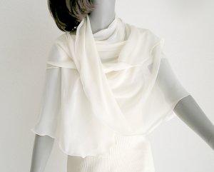 "Bridal Coverup, Square Silk Scarf Natural White Silk Chiffon Scarf Shawl, 42"" x 42"" wavy soft edge."