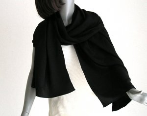 "Long Black Silk Shaw, Solid Black Wrap, 100% Silk Crepe, 21"" x 72"", M Medium L Large."