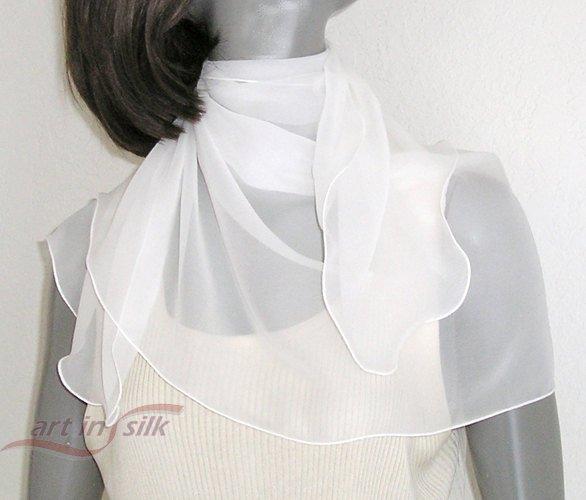 "White Silk Chiffon Scarf, Petite White Scarf, Natural White Wrap, Bridal Scarf, 100% Silk 19x42"""