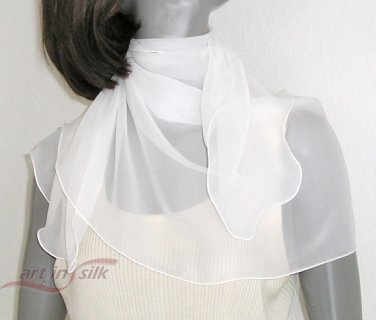Natural White Chiffon Scarf Bridal or Evening 100% Silk 20&quot; x 42&quot;.