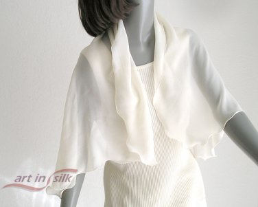 "Light Ivory Silk Scarf, Natural 100% Silk Chiffon Scarf Shawl, 20"" x 42"" scalloped wavy edge."