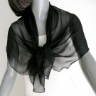 Black Silk Scarf Shoulder Wrap Pure Natural Silk Chiffon, Artisan Handmade, Artinsilk.