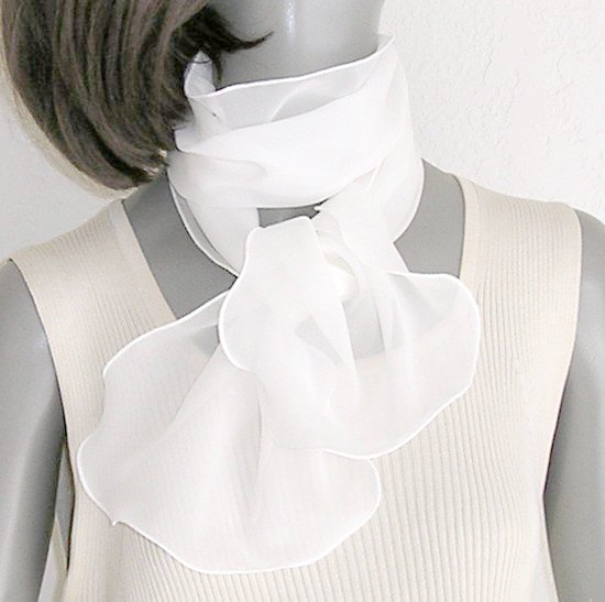 "Off White Silk Scarf, Silk Chiffon Bridal, Light Ivory 10"" x 43"""
