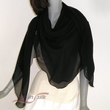 "Large Square Scarf, Silk Chiffon Shawl Wrap, 100% Silk 10mm., 53"" x 53"", Artisan Made."
