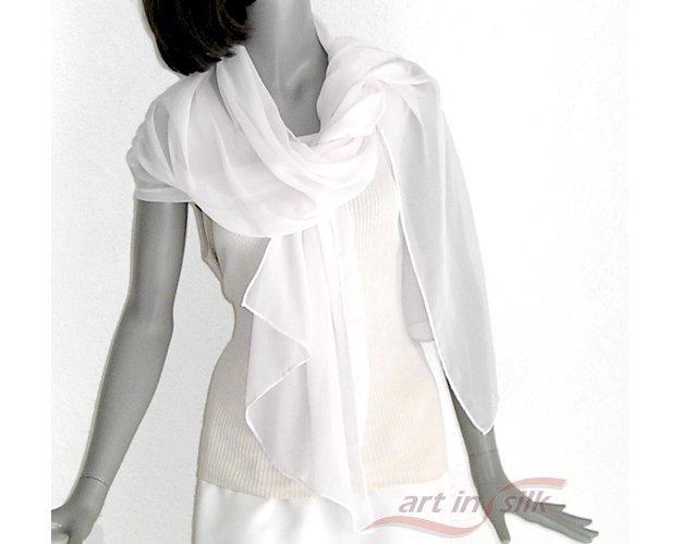 Bridal Coverup, Wedding Sheer Scarf, Pure Silk Chiffon Wrap, White Evening Shawl, Petite, Artinsilk.