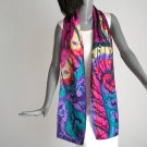 Multicolor Hand Painted Silk Scarf, Rainbow Purple red Emerald, by JOSSIANI