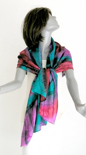 Hand Painted Silk Wrap Shawl Unique Multicolor Emerald Fuchsia Poppy Red by JOSSIANI
