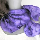 Purple Violet Scarf, Hand Painted, 100% Silk, Unique Silk Scarf, Hand Dyed, Jossiani, ready to ship.