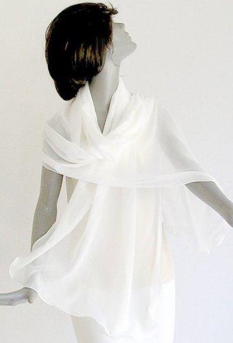 """Bridal Natural White Wrap Shawl, Pure Silk Chiffon 10mm Large  Stole, 26"""" x 76""""."""
