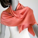 Coral Red Scarf, Tangerine, Sueded Silk Charmeuse One of a Kind, Pure Silk, Petite Small, Artinsilk.