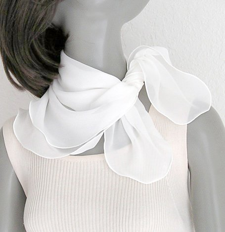 "White Silk Small Scarf Silk Chiffon Square Neck 21"" x 21""."