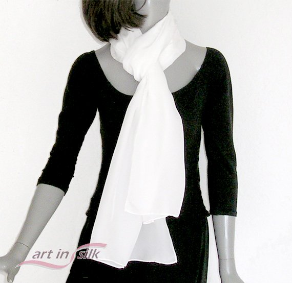 White Silk Scarf, Pure Crepe Natural Silk, Hand Hemmed, Men Women Unisex, Ready to Ship.