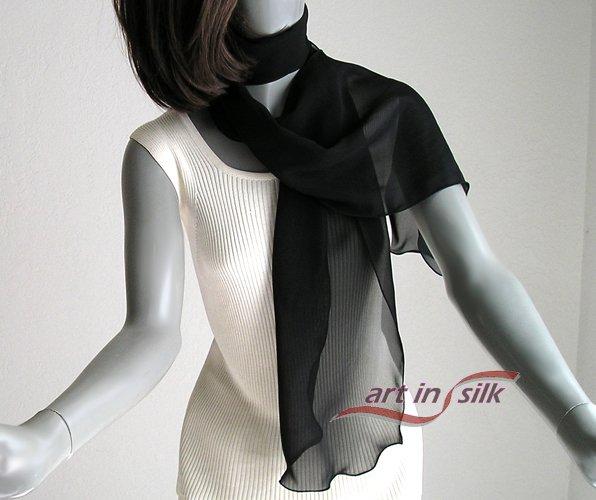 "Long Sheer Scarf Black Chiffon 10mm Pure Silk 16""x72"", One Size, Artisan Handmade."