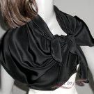 "Black Silk Crepe Scarf Natural 100% Silk, 16"" x 43"", Ready to Ship."