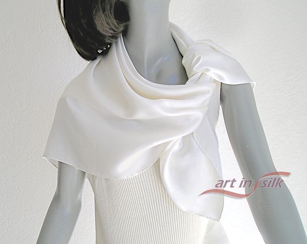 "Square Silk Scarf Natural White 100% Silk Charmeuse 34"" X 34"" Hand Hemmed."