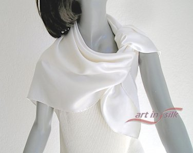 "Square Silk Scarf Natural White 100% Silk Charmeuse 34"" X 34"" Hand Hemmed."